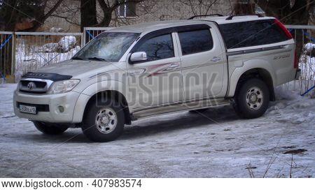 Kazakhstan, Ust-kamenogorsk, January 13, 2020: Toyota Hilux Double Cab 4x4 Pickup Truck