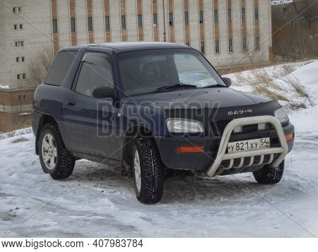 Kazakhstan, Ust-kamenogorsk, January 28, 2020: Toyota Rav4 (sxa10). Old Japanese Car. Winter Snow