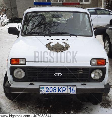 Kazakhstan, Ust-kamenogorsk, February 6, 2020: Police Car. Lada Niva. Kazakhstan Police