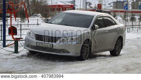 Kazakhstan, Ust-kamenogorsk, February 6, 2020: Toyota Camry Xv50 (pre-facelift). Gray Toyota