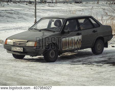 Kazakhstan, Ust-kamenogorsk, February 6, 2020: Lada Samara (vaz 21099, Lada Sputnik) Old Russian Car