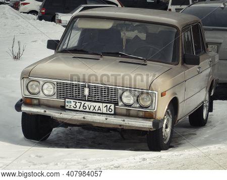 Kazakhstan, Ust-kamenogorsk, February 6, 2020: Vaz 2106 (lada 1600). Zhiguli Classic Soviet Car. Old