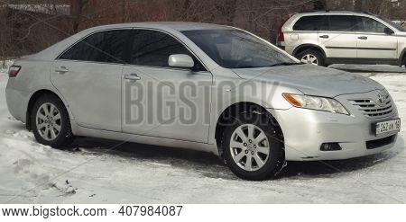 Kazakhstan, Ust-kamenogorsk,  February 6, 2020: Toyota Camry Xv40. Gray Japanese Car