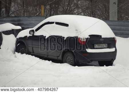 Kazakhstan, Ust-kamenogorsk, February 7, 2020: Lada Kalina. Winter Snow
