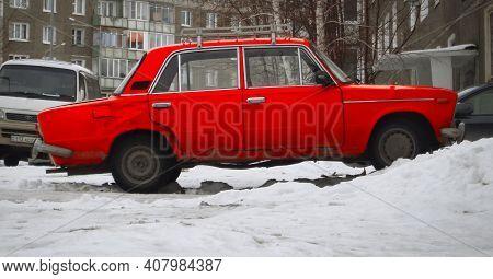 Kazakhstan, Ust-kamenogorsk, February 8, 2020: Vaz 2103. Lada 1500. Zhiguli Classic Soviet Car. Red