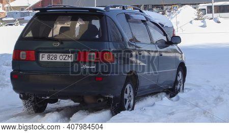 Kazakhstan, Ust-kamenogorsk, February 20, 2020: Toyota Ipsum (picnic). Seven-seater Multi-purpose Ve
