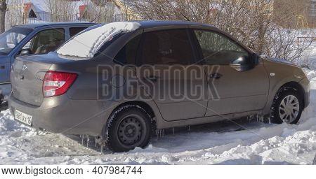 Kazakhstan, Ust-kamenogorsk, February 20, 2020: Russian Car Lada Granta