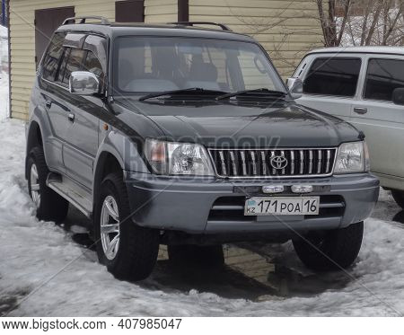 Kazakhstan, Ust-kamenogorsk, March 3, 2020: Toyota Land Cruiser Prado 90. Old Japanese Suv