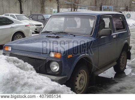 Kazakhstan, Ust-kamenogorsk, March 3, 2020: Lada Niva (vaz 2121, Lada 4x4). Soviet And Russian Car