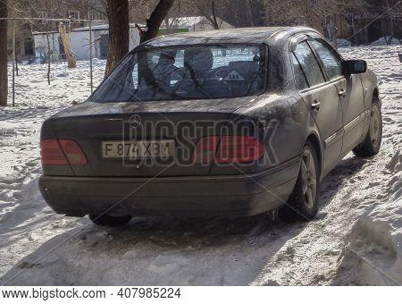 Kazakhstan, Ust-kamenogorsk, March 5, 2020: Mercedes-benz W210. Old German Car