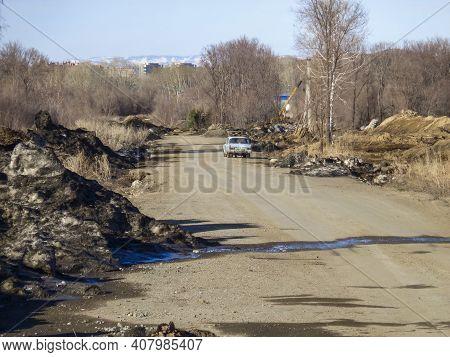 Kazakhstan, Ust-kamenogorsk, March 27, 2020: New Street. Steppe. Moskvitch 412