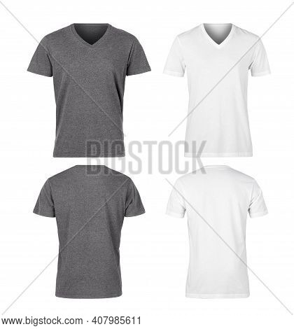 Set Of Grey Unisex T Shirt Front And Back Mockup Isolated On White Background With Clipping Path.