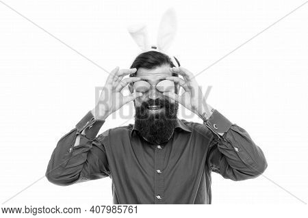 Here Comes Easter Rabbit. Bunny Rabbit Hold Eggs As Glasses. Bearded Man Wear Rabbit Costume. Decora