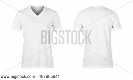 Realistic White Unisex T Shirt Front And Back Mockup Isolated On White Background With Clipping Path