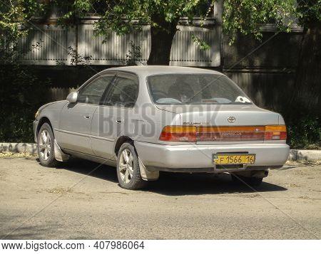 Kazakhstan, Ust-kamenogorsk, May 7, 2020: Toyota Corolla Seventh Generation (e100; 1991)