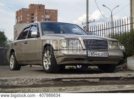 Kazakhstan, Ust-kamenogorsk, May 19, 2020: Mercedes-benz W124 E-class. Old German Car