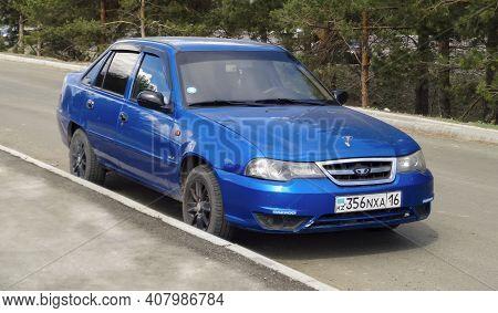 Kazakhstan, Ust-kamenogorsk, May 22, 2020: Daewoo Nexia. Bright Korean Car