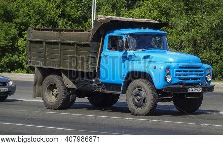 Kazakhstan, Ust-kamenogorsk, May 22, 2020: Old Soviet Truck Zil 130. Dumper. Blue Retro Truck