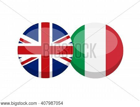 English And Italian Flag Isolated On White Background. English-italian Conversation Concept. Learn L