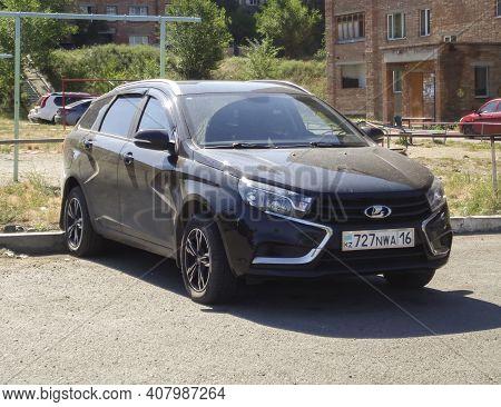 Kazakhstan, Ust-kamenogotsk, June 12, 2020: Lada Vesta Sw. Russian Car