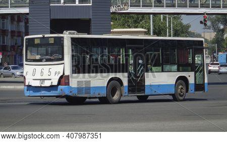 Kazakhstan, Ust-kamenogorsk, June 12, 2020: Chinese Bus Huanghai. Public Transport. Traffic. Downtow