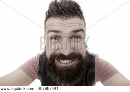 Smile With Your Eyes Not With Your Teeth. Bearded Man With Big Smile. Brutal Caucasian Guy Happy Smi