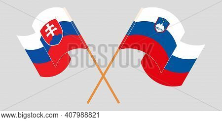 Crossed And Waving Flags Of Slovenia And Slovakia. Vector Illustration
