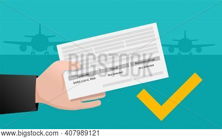 Mandatory Pcr Testing Medical Certificate For Air Travel. Hand Holding Paper With Airport On Backgou