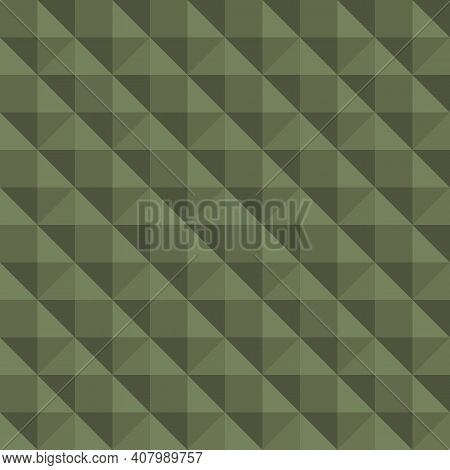 Vector 3d Pyramid Shaped Stud Seamless Pattern Background. Elegant Studded Backdrop With Shaded Tria