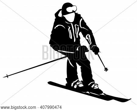 Black And White Image Of A Skier Going Down The Slope Vector Illustration