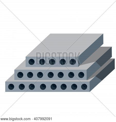 Reinforced Concrete Block. Building Material. The House Panel. Wall Element. Isometric Illustration