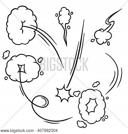 Effect Of Comic Speed. Funny Cloud Of Movement. Bubble Cloud. Track And Trace. Cartoon Black And Whi