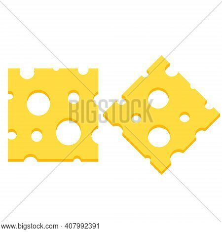 Piece Of Cheese. Slice Food. Yellow Ingredient With Holes. Roquefort Dairy Products. Flat Cartoon Il