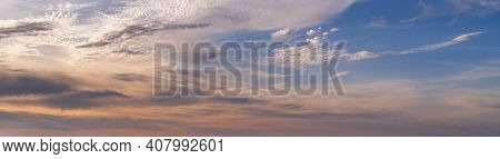 Colorful Evening Sky With Clouds Panorama Background