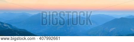 Mountain Outline On Morning Sky Background. Summer Daybreak Misty Top View (gorgany, Carpathians, Uk
