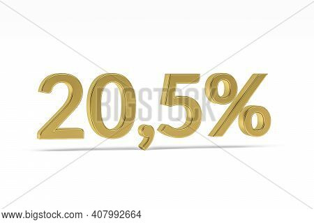 Gold Digit Twenty Point Five With Percent Sign - 20,5% Isolated On White - 3d Render
