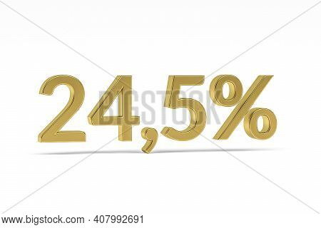Gold Digit Twenty Four Point Five With Percent Sign - 24,5% Isolated On White - 3d Render