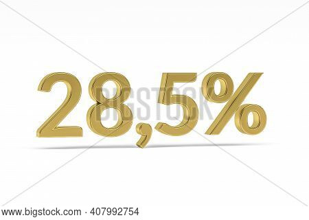 Gold Digit Twenty-eight Point Five With Percent Sign - 28,5% Isolated On White - 3d Render