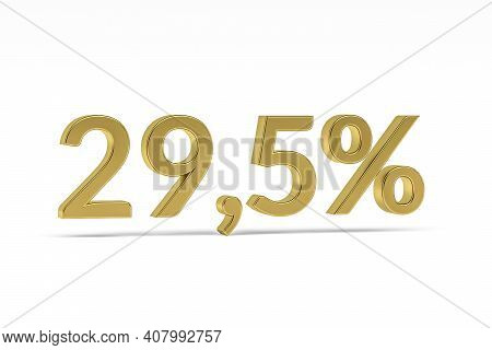 Gold Digit Twenty Nine Point Five With Percent Sign - 29,5% Isolated On White - 3d Render