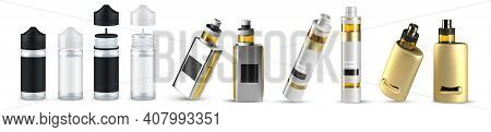 Vaping. Realistic Vape Container With Aromatic Liquid For Smoking, 3d Alternative Electronic Cigaret