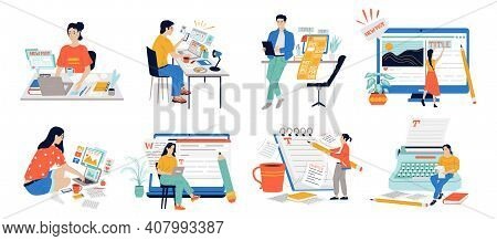 Copywriters. Journalist Workflow With Cartoon Content Managers Posting Text With Laptop. Cute People
