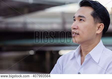 Portrait Determined Business Man Handsome Asian Businessman Looks Away To Copy Space In City Asian A