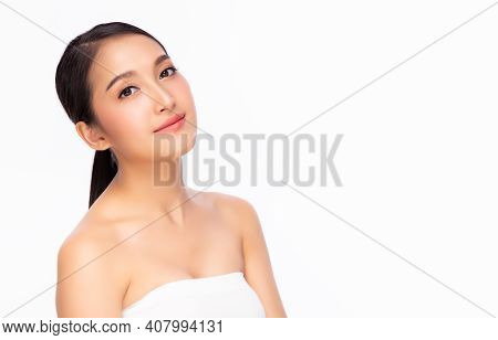 Happy Beautiful Asian Woman Has Beauty Facial Skin With Smile Face Portrait Beauty Young Asia Girl P