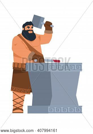 Greek God Hephaestus. Cartoon Mythological Character Of Ancient Legends. Divine Patron Of Blacksmith