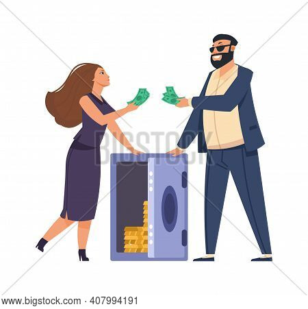 Rich People. Cartoon Happy Man And Woman With Metal Safe Full Of Money. Secure Storage Of Gold Bars