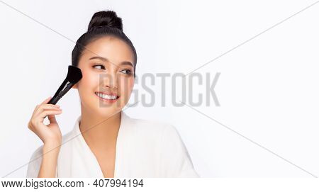 Happy Beauty Asian Woman Hold Makeup Brush Attractive Beautiful Girl Get Natural Makeup By Using Bru