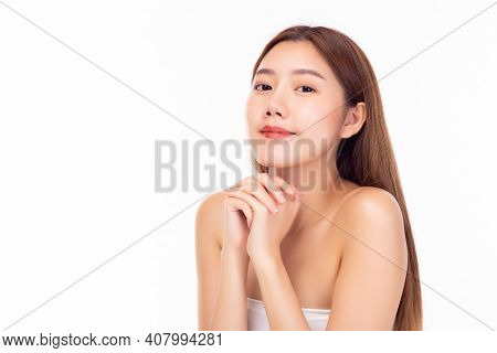 Beautiful Young Asian Woman With Clean Fresh Skin, Closed Eyes. Female Beauty Face Care. Bear Should