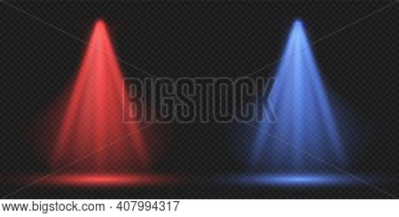 Falling Light. Red And Blue Laser Effect On Transparent Background. Fighting Ring Lighting. Spotligh