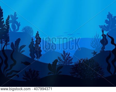Underwater Seabed. Deep Ocean Seascape. Hilly Undersea Bottom With Growing Seaweed And Swimming Fish