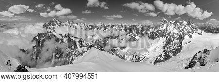 Grayscale. Mont Blanc Rocky Mountain Massif Summer View From Aiguille Du Midi Mount, Chamonix, Frenc